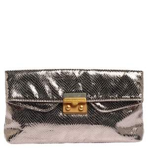 Marc by Marc Jacobs Metallic Snakeskin Effect Leather Fold Over Clutch