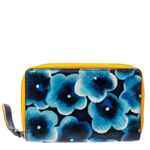 Marc by Marc Jacobs Blue Printed Leather Sophisticato Wingman Wristlet Wallet