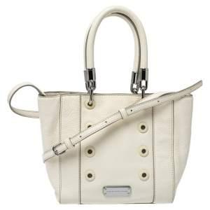 حقيبة يد مارك باي مارك جاكوبس حلقات معدنية جلد أبيض