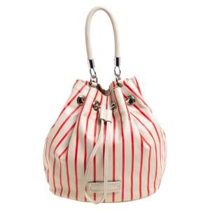 Marc by Marc Jacobs Beige/Red Striped Leather Too Hot To Handle Drawstring Hobo