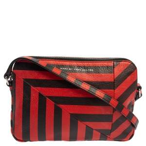 Marc by Marc Jacobs Red/Black Striped Leather Turn Around Dani Crossbody Bag