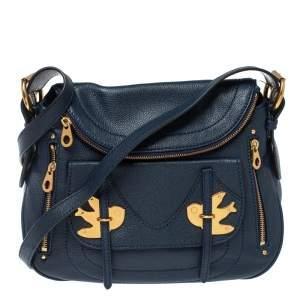 Marc by Marc Jacobs Navy Blue Leather Petal to the Metal Natasha Bird Shoulder Bag
