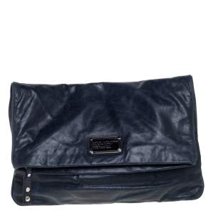 Marc by Marc Jacobs Blue Crinkled Leather Foldover Clutch