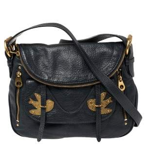 Marc by Marc Jacobs Blue Leather Petal to the Metal Natasha Bird Shoulder Bag