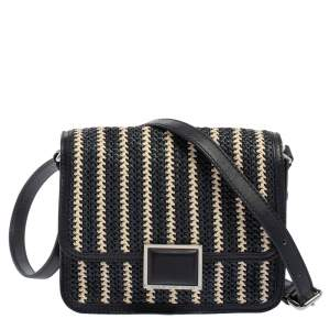 Marc By Marc Jacobs Navy Blue/White Woven Raffia and Leather Flap Crossbody Bag