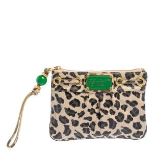 Marc by Marc Jacobs Beige/Brown Leopard Print Leather Wristlet Clutch