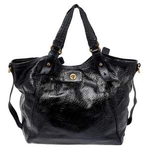 Marc by Marc Jacobs Black Patent and Leather Turnlock Shoulder Bag