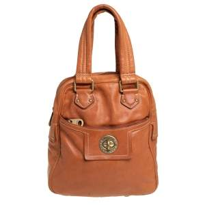 Marc by Marc Jacobs Brown Leather Turnlock Pocket Satchel