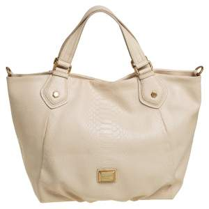 Marc by Marc Jacobs Beige Python Embossed Leather Shopper Tote