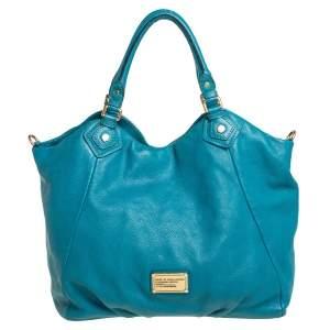 Marc by Marc Jacobs Aqua Blue Leather Classic Q Francesca Shoulder Bag