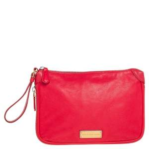 Marc by Marc Jacobs Red Leather Classic Q Wristlet Clutch