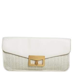 Marc By Marc Jacobs White Leather and Straw Flap Clutch