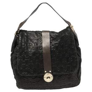 Marc By Marc Jacobs Navy Blue Dreamy Embossed Logo Leather Puckered Mouse Hobo
