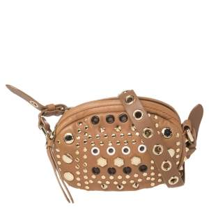 Marc by Marc Jacobs Tan Leather Studded Round Crossbody Bag
