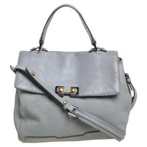 Marc by Marc Jacobs Grey Leather Flap Top Handle Bag