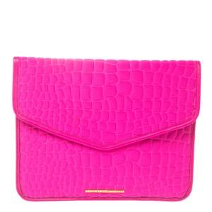 Marc by Marc Jacobs Pink Croc Embossed Neoprene and Leather Tablet Envelope Clutch
