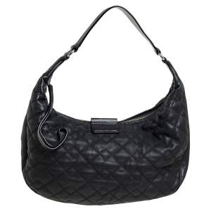 Marc by Marc Jacobs Black Quilted Leather Moto Hobo