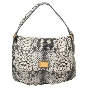 Marc by Marc Jacobs Black/White Python Embossed Leather Classic Q Lil Ukita Satchel