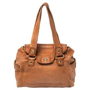Marc by Marc Jacobs Brown Leather Totally Turnlock Satchel