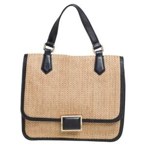 Marc by Marc Jacobs Beige/Black Leather And Straw Top Handle Bag