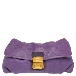 Marc by Marc Jacobs Purple Dreamy Logo Leather Linda Clutch