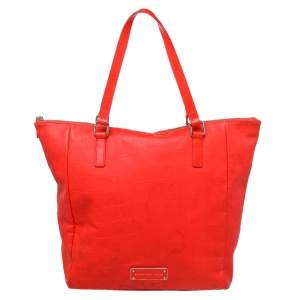 Marc by Marc Jacobs Bright Orange Croc Embossed PVC And Leather Tote