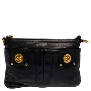 Marc by Marc Jacobs Black Leather Totally Turnlock Percy Crossbody Bag
