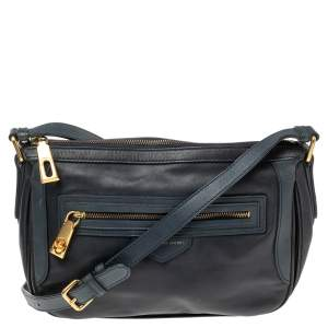 Marc By Marc Jacobs Navy Blue Leather Zip Crossbody Bag
