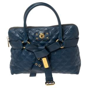 Marc Jacobs Blue Quilted Leather Bruna Belted Tote