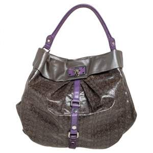 Marc By Marc Jacobs Purple/Grey Coated Canvas and Leather Lil Riz Hobo