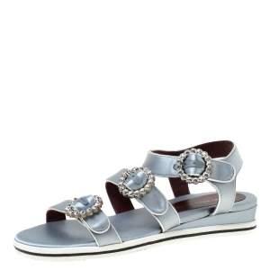 Marc By Marc Jacobs Light Blue Crystal Embellished Satin Charlotte Sandals Size 39