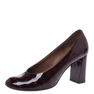 Marc by Marc Jacobs Burgundy Croc Embossed Patent Leather Block Heel Pumps Size 38.5