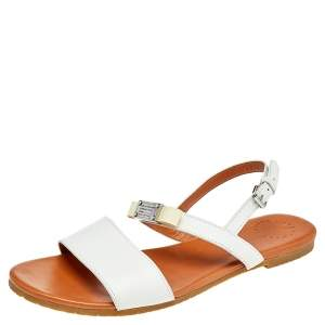 Marc By Marc Jacobs White Leather Bow Flat Slingback Sandals Size 39.5