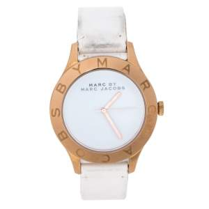 Marc By Marc Jacobs White Rose Gold Tone Stainless Steel MBM1201 Women's Wristwatch 40 mm