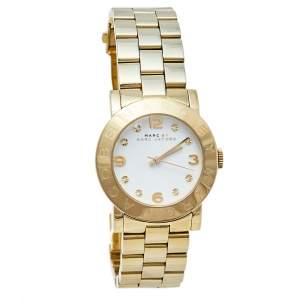 Marc by Marc Jacobs White Gold Tone Stainless Steel Amy MBM3056 Women's Wristwatch 36 mm