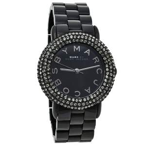 Marc By Marc Jacobs Black PVD Coated Stainless Steel Crystal Pave MBM3193 Women's Wristwatch 36 mm