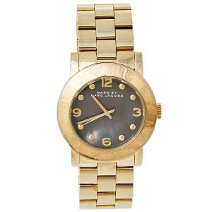 ساعة يد نسائية مارك باي مارك جاكوبس ايمي MBM3273  ستانلس ستيل مطلي ذهب رمادية 36 مم