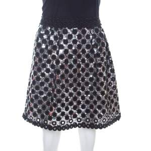 Marc Jacobs Black and Silver Sequin Embellished Pleated A Line Skirt S