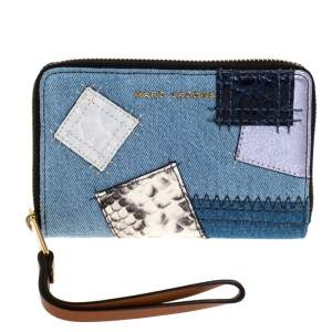 Marc Jacobs Blue Denim Patchwork Zip Around Wallet
