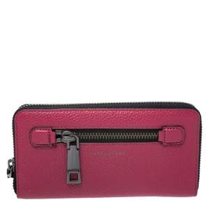 Marc Jacobs Raspberry Pink Leather Gotham Zip Around Wallet