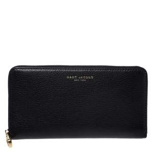 Marc Jacobs Black Leather Zip Around Wallet