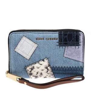 Marc Jacobs Blue Denim Patchwork Wristlet Zip Around Wallet