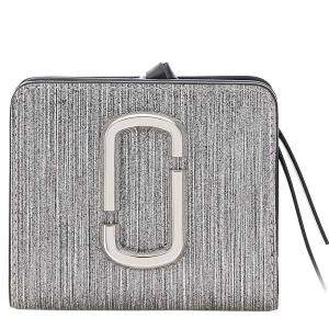 Marc Jacobs Silver Leather The Snapshot Mini Wallet