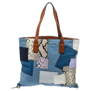Marc Jacobs Multicolor Denim and Mixed Exotic Embossed Patchwork Wingman Tote