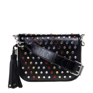 Marc Jacobs Black Patent Leather Jewel Embellished Courier Crossbody Bag