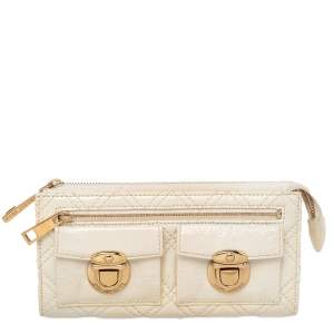 Marc Jacobs Cream Patent Leather Double Pocket Wallet