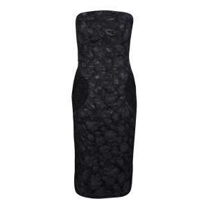 Marc Jacobs Black Polka Dot Lace Pocket Detail Strapless Dress L