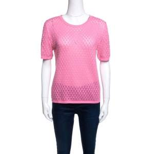Marc Jacobs Pink Rib Trim Perforated Cotton Knit Top M