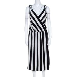Marc Jacobs Monochrome Striped Crepe Faux Wrap Midi Dress M