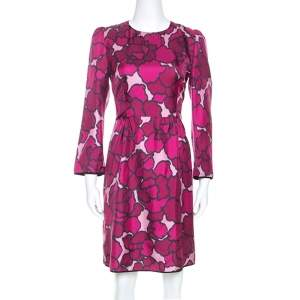 Marc Jacob Pink Floral Printed Silk Paneled Detail Midi Dress M
